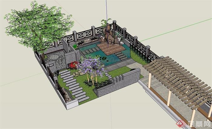 中式庭院花园景观设计su模型[原创]