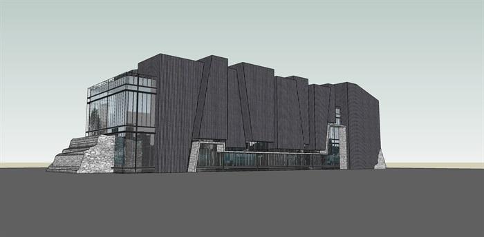 现代售楼处详细多层建筑设计su模型