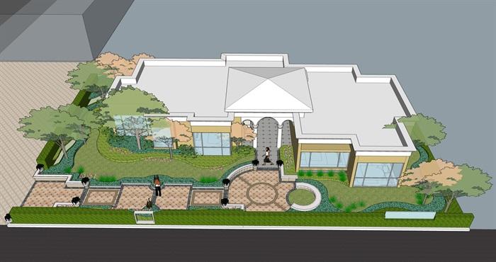 某详细别墅庭院设计su模型