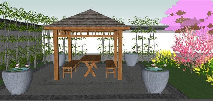 中式庭院花园设计su模型