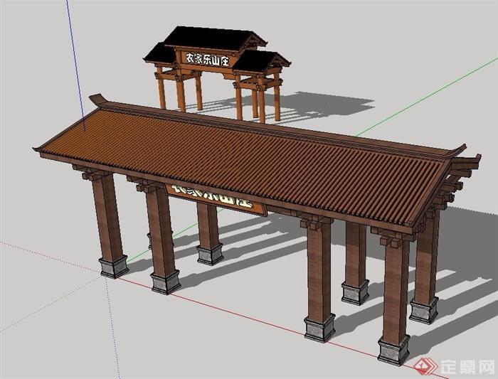 古典中式风格山庄大门su模型