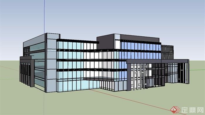 某现代多层商业建筑单体su模型