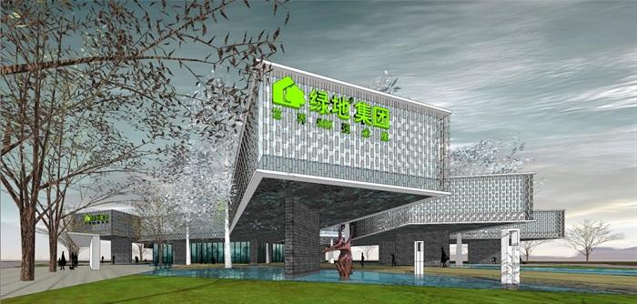 悬挑架空发散式挂瓦表皮售楼部活动展示中心会所(1)