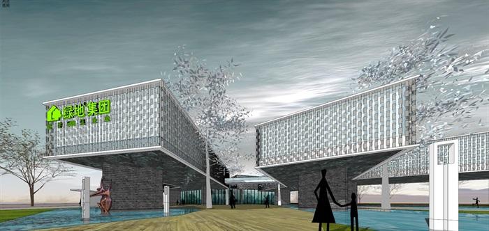 悬挑架空发散式挂瓦表皮售楼部活动展示中心会所(2)