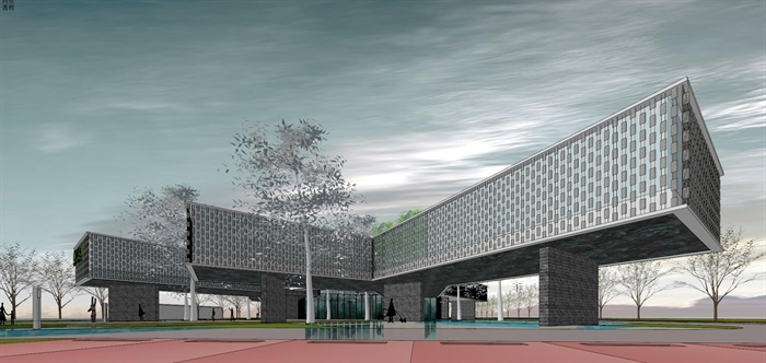 悬挑架空发散式挂瓦表皮售楼部活动展示中心会所(4)