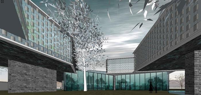悬挑架空发散式挂瓦表皮售楼部活动展示中心会所(6)