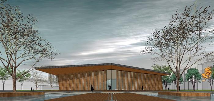 新中式折板屋顶庭院木格栅售楼部活动展示中心(1)