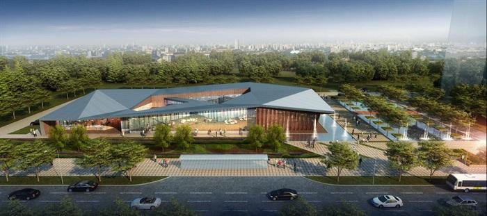 新中式折板屋顶庭院木格栅售楼部活动展示中心(2)