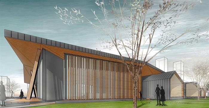 新中式折板屋顶庭院木格栅售楼部活动展示中心(4)