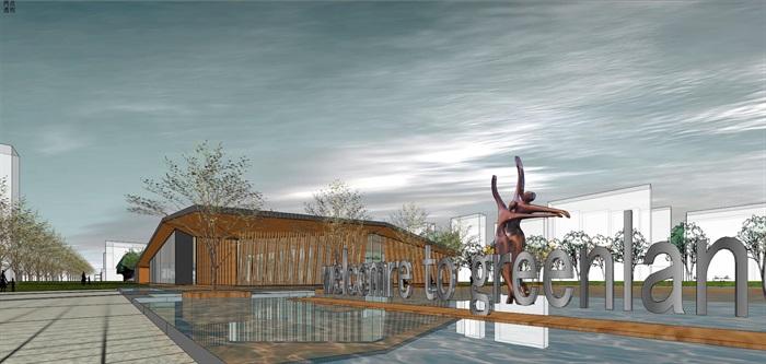 新中式折板屋顶庭院木格栅售楼部活动展示中心(5)