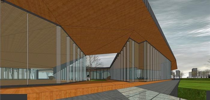 新中式折板屋顶庭院木格栅售楼部活动展示中心(6)
