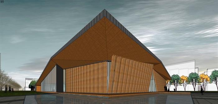 新中式折板屋顶庭院木格栅售楼部活动展示中心(7)