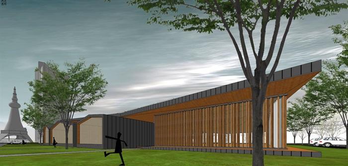 新中式折板屋顶庭院木格栅售楼部活动展示中心(8)