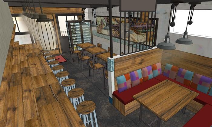 日式风格小型餐饮风情店su模型