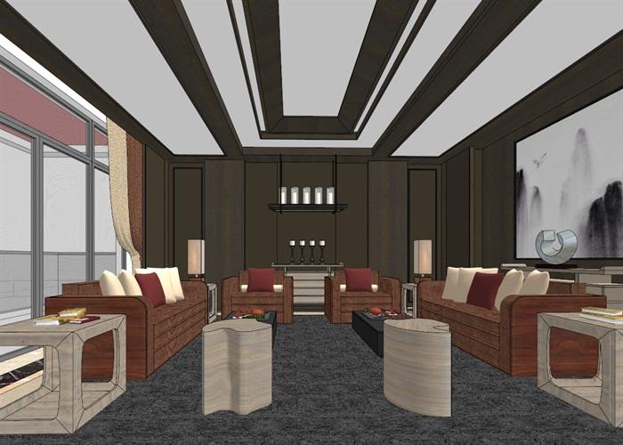 中式典雅高端居住别墅室内装修设计(1)
