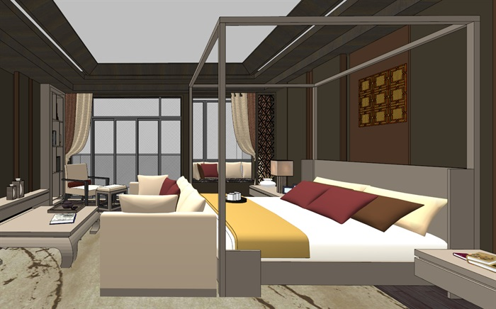 中式典雅高端居住别墅室内装修设计(2)