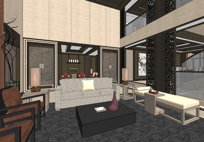 中式典雅高端居住别墅室内装修设计(3)