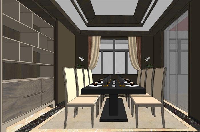 中式典雅高端居住别墅室内装修设计(4)