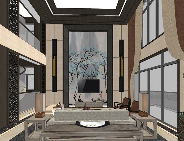 中式典雅高端居住别墅室内装修设计(5)