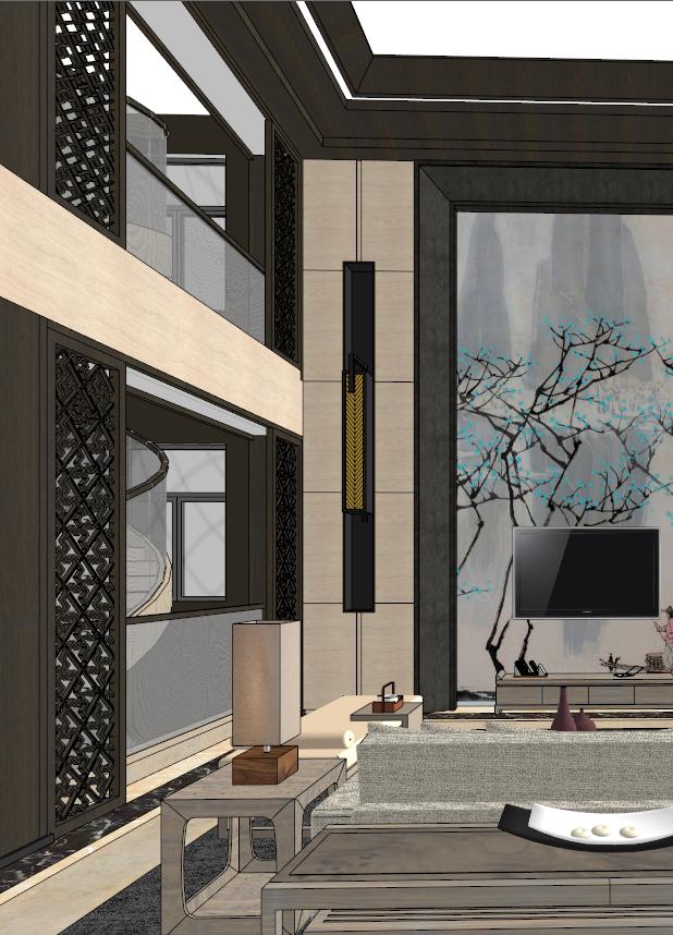 中式典雅高端居住别墅室内装修设计(6)