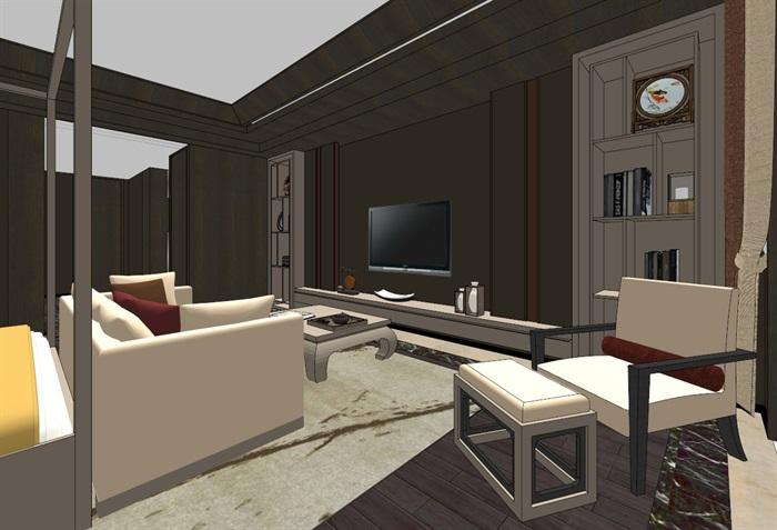 中式典雅高端居住别墅室内装修设计(7)