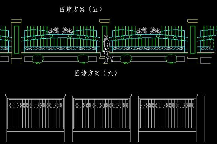 围墙大样图十多种cad方案