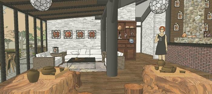 滨水新中式度假风情餐厅室内设计(4)