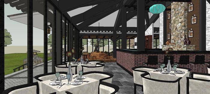 滨水新中式度假风情餐厅室内设计(5)