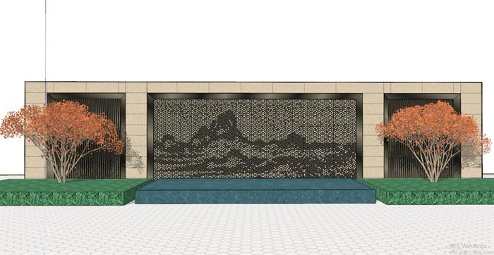 35款新中式典雅禅意山水景墙设计su模型[原创]