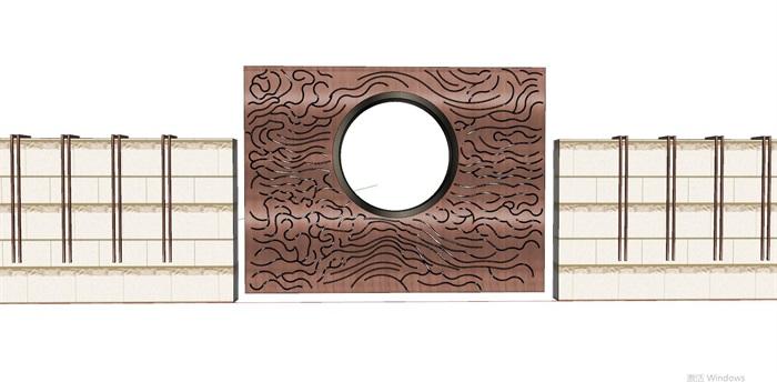 35款新中式典雅禅意山水景墙设计su模型