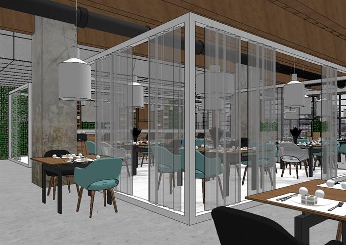 现代欧式生态绿色简约餐厅(2)