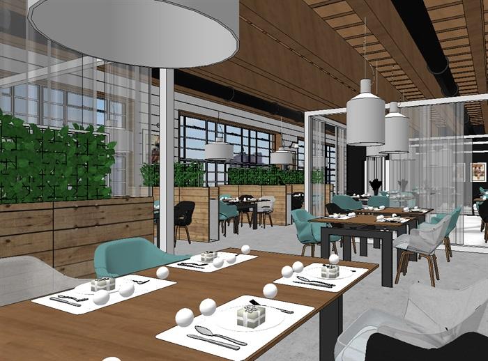 现代欧式生态绿色简约餐厅(4)