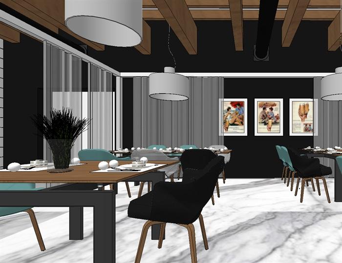 现代欧式生态绿色简约餐厅(5)