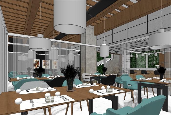 现代欧式生态绿色简约餐厅(6)