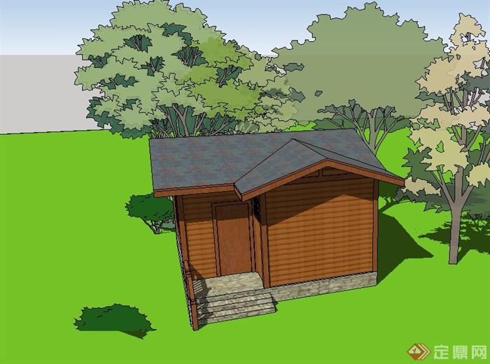 中式小木屋建筑设计su模型