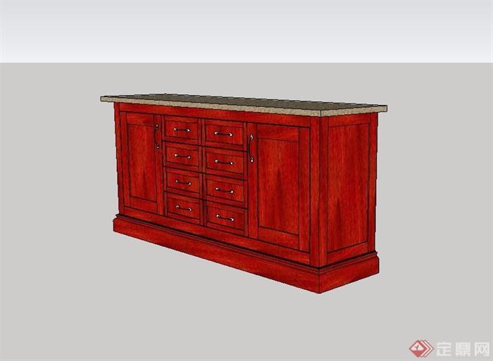 现代风格室内详细柜子su模型