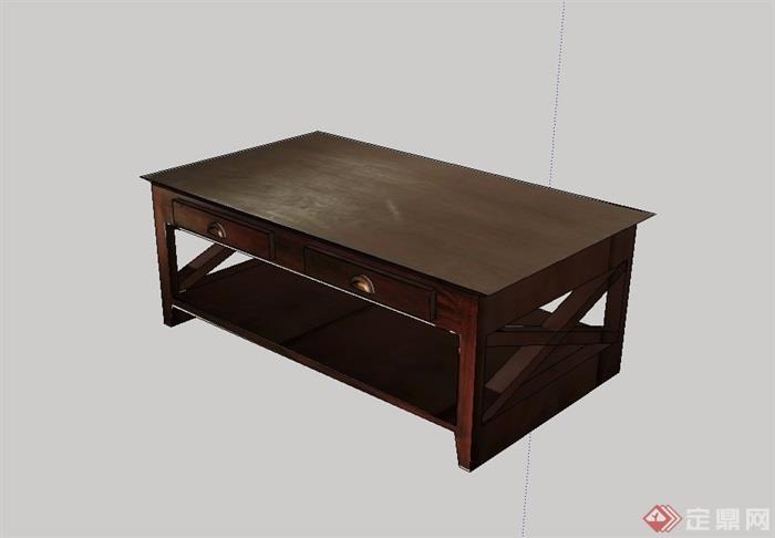 现代风格木质桌子su模型