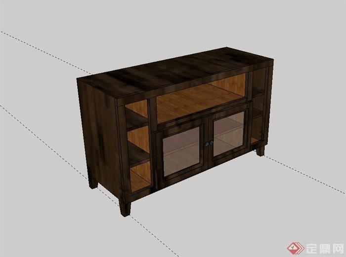 中式木质柜子设计su模型