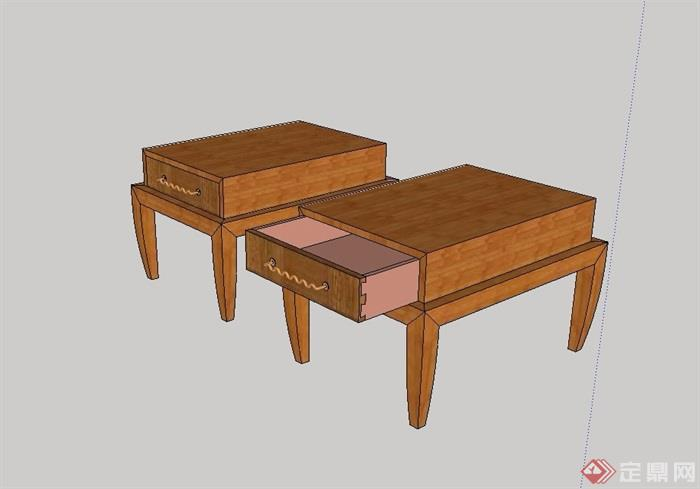 中式木质床头柜设计su模型