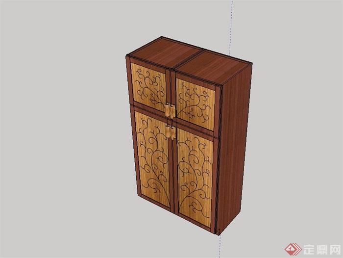 某室内木质柜子设计su模型