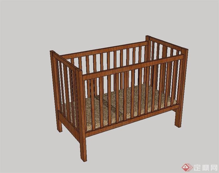 现代木质婴儿床设计su模型