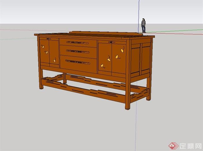 中式风格详细木质柜子su模型