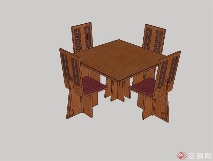 中式四人木质餐桌椅设计su模型