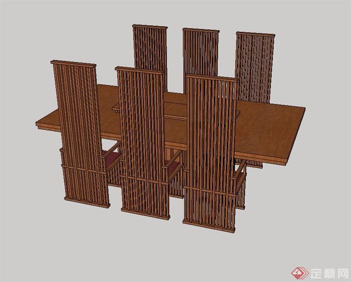 木质详细的餐桌椅设计su模型