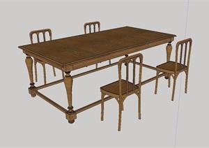 中式详细的全木质桌椅设计SU(草图大师)模型