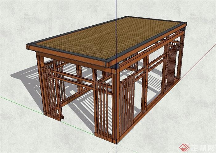 新中式亭子独特造型设计su模型[原创]
