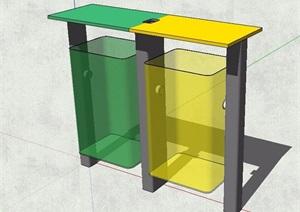 现代风格分类垃圾箱设计SU(草图大师)模型