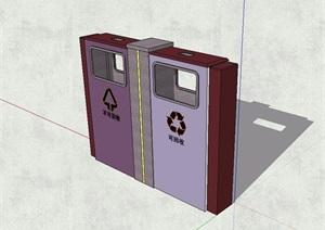 现代风格分类垃圾桶设计SU(草图大师)模型