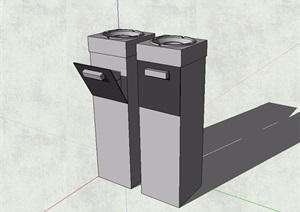 现代风格分类垃圾桶素材设计SU(草图大师)模型