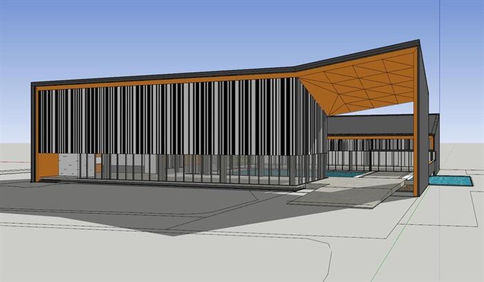 田园文化展示销售中心建筑设计su模型